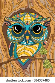 A4 Vector Colorful Zentangle Stylized Abstract Owl In Hollow Tree With Foliage And Flora Art