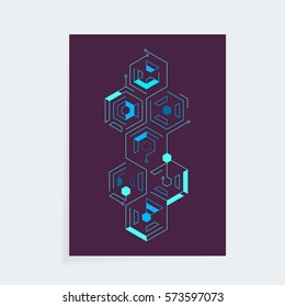 A4 vector isometric cyber techno cover design template for booklet, brochure or book.