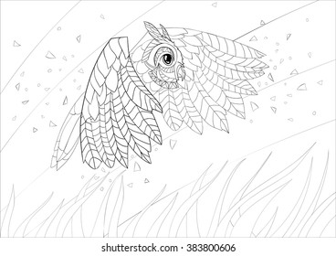 A4 Vector Monochrome Zentangle Stylized Abstract Wise Owl Fly And Flora Art Color Therapy