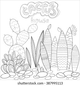 A4 Vector Monochrome Zentangle Stylized Abstract Collection Of Cactus In Flat Style Art And Color
