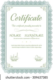 A4 vertical vintage art deco certificate template,vector illustration