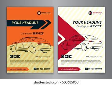 A5, A4 set car repair service business card templates. Auto repair shop business catalogue cover layout design. Vector illustration.