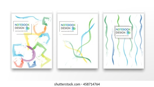 A5 brochure cover design with geometric shapes.