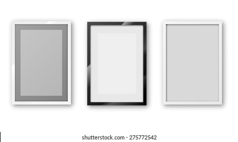 A6 / A5 / A4 / A3 or other A Format paper Frames with different design and  thin borders. Vector illustration.