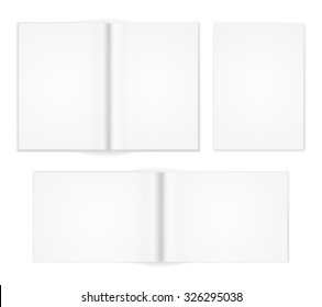 A6 A5 A4 or other A format  white brochure templates. Cover and  double-page spread both vertical and horizontal design with  text elements. Vector illustration