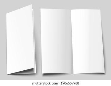 A6 brochure cover mock up. A5 half-fold blank template design. Bi fold, vertical half fold Flyer with copy space. 3d vector illustration.