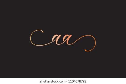 A AA Cursive Letter Initial Logo Design Template