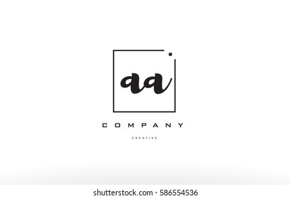 aa a hand writing written black white alphabet company letter logo square background small lowercase design creative vector icon template