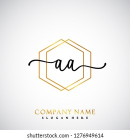 AA Initial Handwriting logo template vector