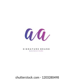 A A AA Initial letter handwriting and  signature logo concept design