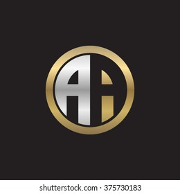 AA initial letters circle elegant logo golden silver black background