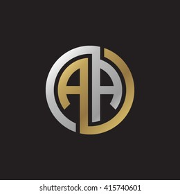 AA initial letters linked circle elegant logo golden silver black background