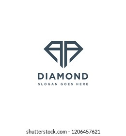 AA Initial Letters Logo Design with Diamond Shape for Jewelry Company Store