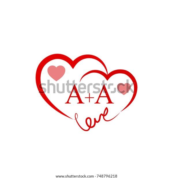 Aa Initial Wedding Invitation Love Logo Stock Vector Royalty Free