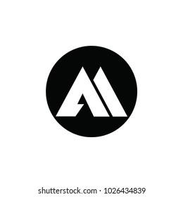 aa letter vector logo. am letter vector logo. mountain vector logo