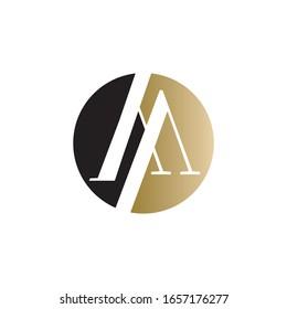 aa logo circle design vector icon