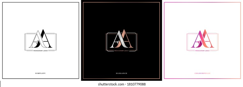 AA monogram, AA initial wedding, AA logo company, AA icon business, corporate sign with variation three colors designs for  alphabetical marriage name, brand name, initial couple, font letter symbolic