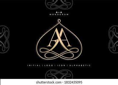 AA monogram, AA initial Wedding , Aa logo company and icon business, sign, symbol with variation three designs of minimal, elegance, colorful for fashion, jewelry, boutique and creative templates