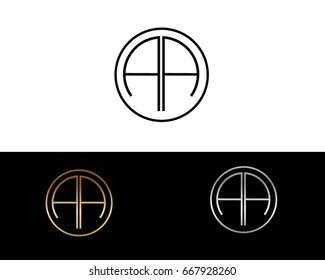 AA round circle shape initial letter logo