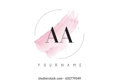 AA A Watercolor Letter Logo Design with Circular Shape and Pastel Pink Brush.
