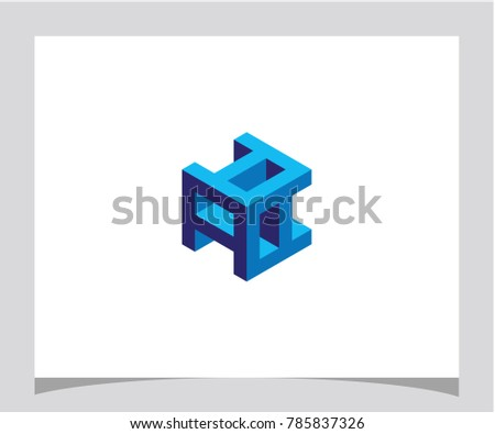 Aaa Initial Abstract Geometric Hexagon Cube Stock Vector Royalty
