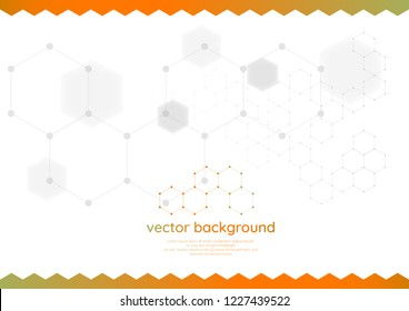 Aabstract geometric hexagonal molecular structures in technology background.Hexagons. Molecule structure  and communication. Vector gradient illustration. EPS 10.