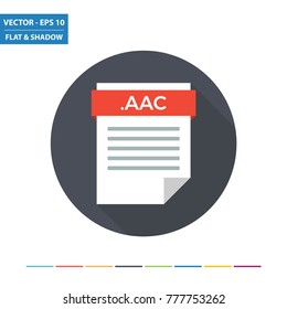 AAC audio document file format flat icon. Vector Illustration.