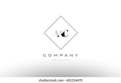 aac a a c retro vintage simple rhombus three 3 letter combination black white alphabet company logo line design vector icon template