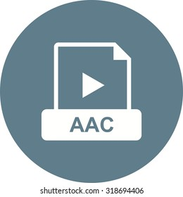 AAC, flat, design icon vector image. Can also be used for file format, design and storage. Suitable for mobile apps, web apps and print media.