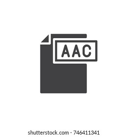 Aac format document icon vector, filled flat sign, solid pictogram isolated on white. File formats symbol, logo illustration.