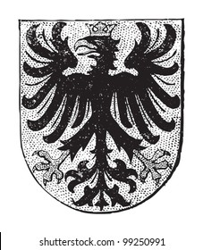 Aachen coat of arms (city in Germany) / vintage illustration from Meyers Konversations-Lexikon 1897