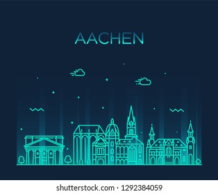 Aachen, North Rhine-Westphalia, Germany. Trendy vector illustration, linear style