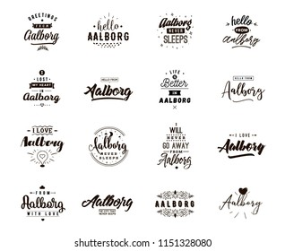 Aalborg. Greeting cards, vector design. Isolated logos. Typography set.