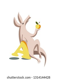 Aardvark with apple and letter A, perfect for alphabet books, T-shirts, cards, posters