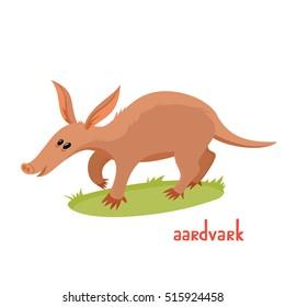 Aardvark in cartoon style. Vector illustration of wild animal isolated on white background. Cute zoo alphabet.
