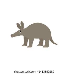 Aardvark icon in flat style, african animal vector illustration