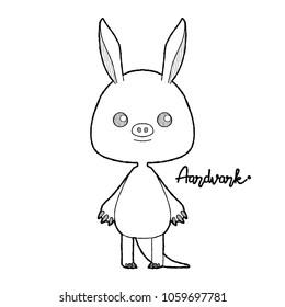 Aardvark Mammal Animal Vector Illustration Hand Drawn Cartoon Art