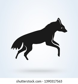 An Aardwolf in Southern Africa. Vector illustration isolated on white background