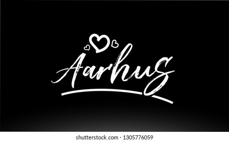 aarhus black and white city hand written text with heart for logo or typography design
