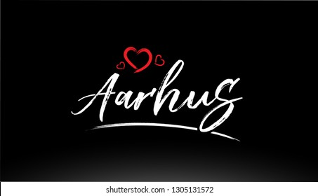 aarhus city hand written text with red heart suitable for logo or typography design
