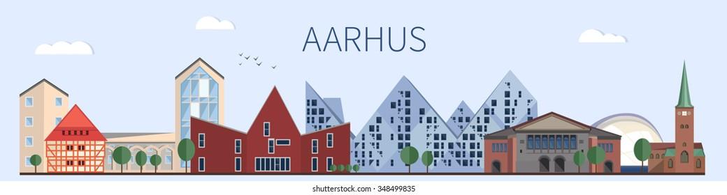 Aarhus landmarks and monuments in flat style. Aarhus skyline
