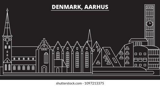 Aarhus silhouette skyline. Denmark - Aarhus vector city, danish linear architecture, buildings. Aarhus travel illustration, outline landmarks. Denmark flat icons, danish line banner
