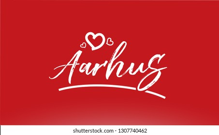 aarhus white city hand written text with heart on red background for logo or typography design