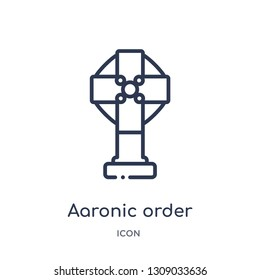 aaronic order church icon from religion outline collection. Thin line aaronic order church icon isolated on white background.