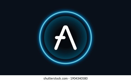 Aave token coin symbol with crypto currency themed background design. Modern blue neon color banner for aave logo icon. Blockchain technology, decentralized finance concept.