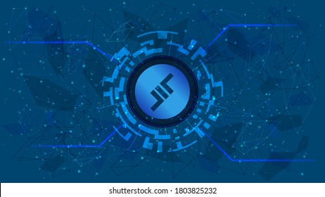 Aave token symbol of the DeFi project in a digital circle with a cryptocurrency theme on a blue background. Lend cryptocurrency icon. Decentralized finance programs. Copy space. Vector EPS10.