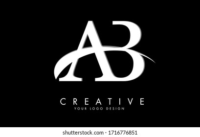 AB A B letters logo with white swoosh and black background. Vector Illustration with letters A and B.
