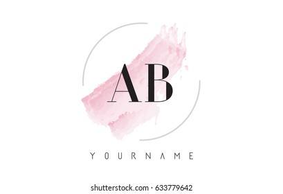 AB A B Watercolor Letter Logo Design with Circular Shape and Pastel Pink Brush.