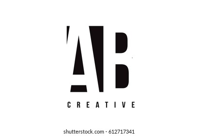 AB A B White Letter Logo Design with Black Square Vector Illustration Template.