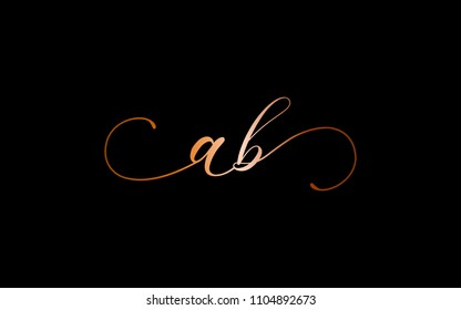 ab ba Cursive Letter Initial Logo Design Template Vector Illustration